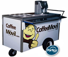Idea de negocio. Negocio de cafe. Vendiendo café al paso con carrito cafetero